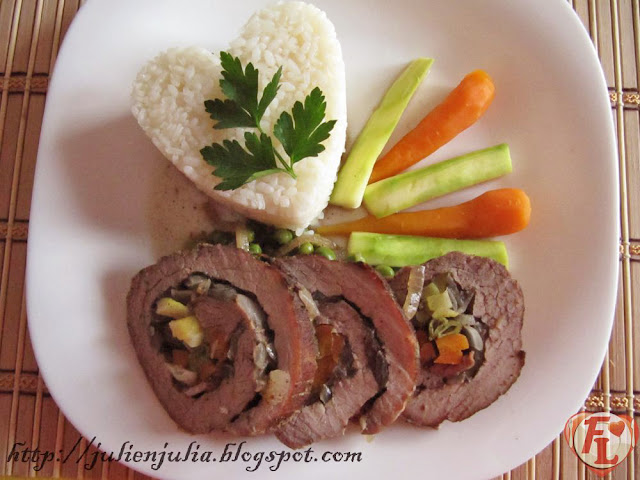 Vegetable stuffed roast beef روست بيف محشو بالخضار