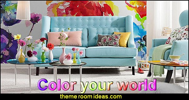 color your world chic and trendy decorating ideas - unique decor - girls bedroom decor - colorful decor