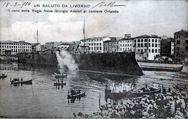 Vintage postcard of the launch of the Greek cruiser Georgios Averof, Livorno