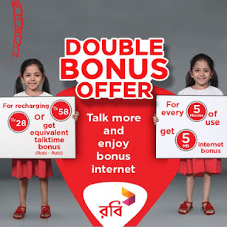 Robi Double Bonus Offer on 28tk and 58tk recharge