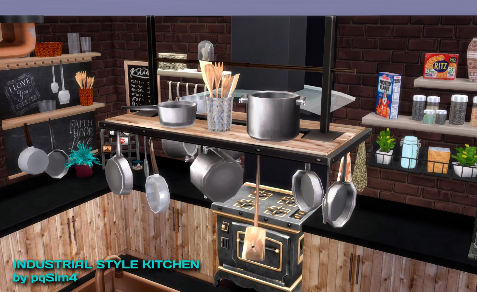 My Sims 4 Blog Industrial Kitchen Set By Pqsim4