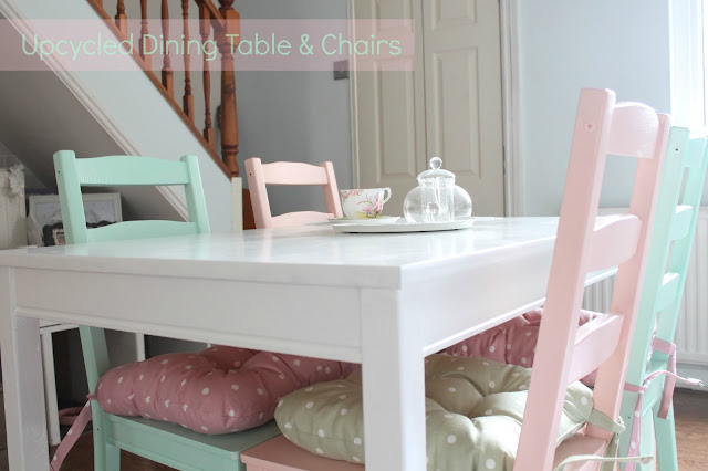 Upcycled dining table & chairs, white table, pastel pink & mint green chairs