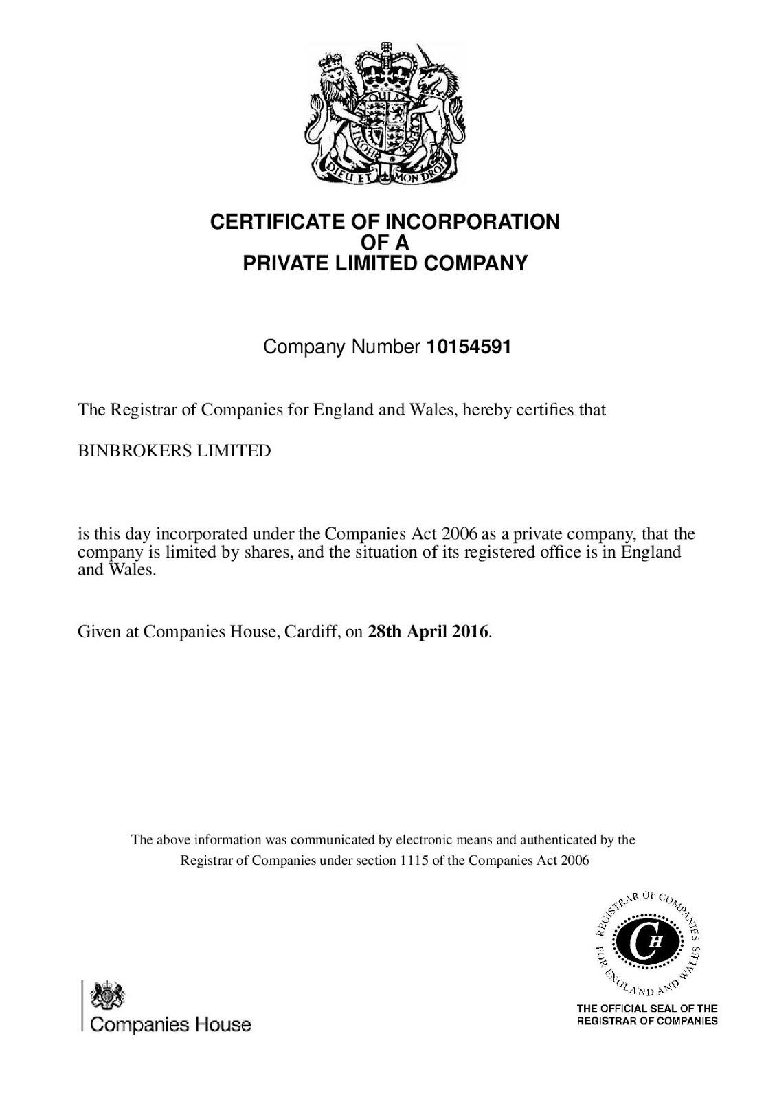 Сертификат Binbrokers