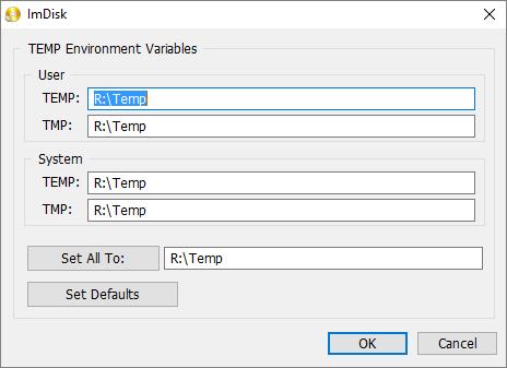 Okno konfiguracji lokalizacji folderów tymczasowych (tutaj przestawione na dysk R:\ który jest ramdyskiem)