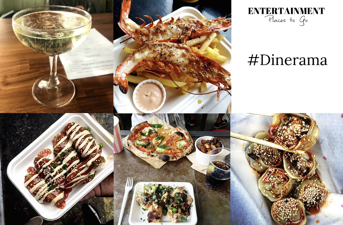 A selection of the food available at Dinerama in Shoreditch, London