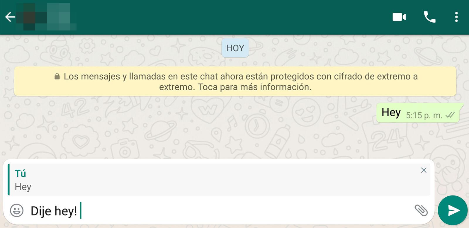Un ejemplo de citas en whatsapp