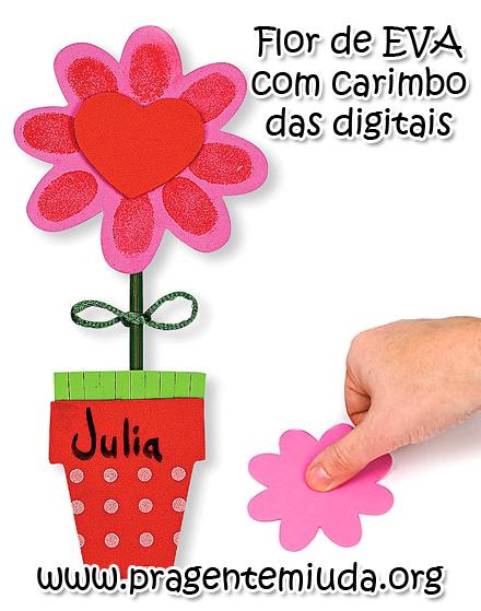 Flor De Eva Com Carimbo Dos Dedinhos Pra Gente Miuda