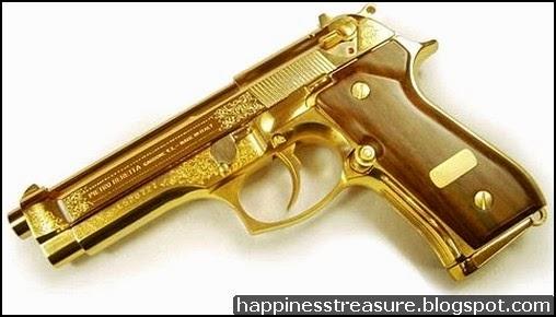 Gold Gun With Diamonds Wallpaper