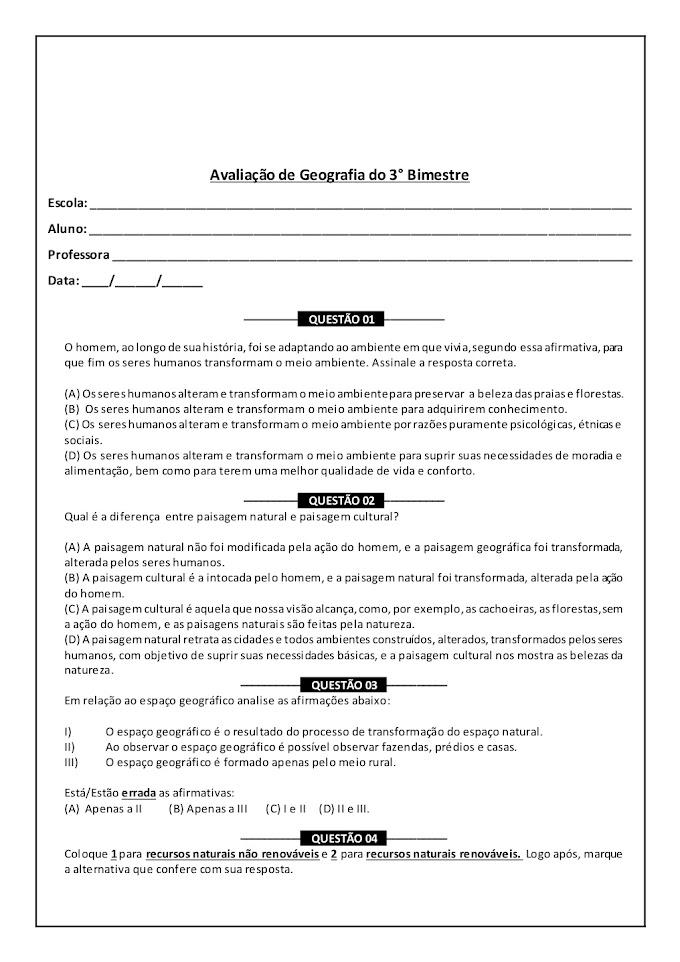 Avaliação de Geografia 5º Ano 3º Bimestre com Gabarito.