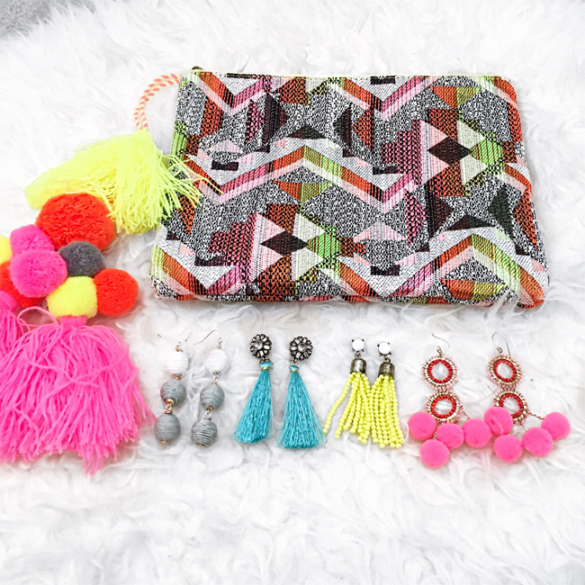 bp. tassel pom clutch statement earrings pardonmuahinsta