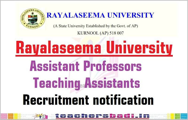 Rayalaseema University,Assistant Professors,Teaching Assistants Recruitment 2016