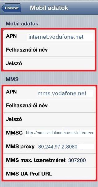 Vodafone Hu APN beállítások iPhone iPad