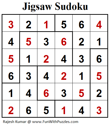 Jigsaw Sudoku (Mini Sudoku Series #94) Solution