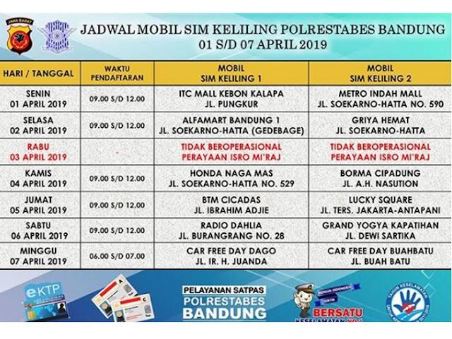 Jadwal SIM Keliling Polrestabes Bandung Bulan April 2019