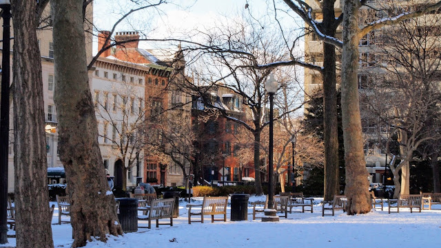 Snow-covered Rittenhouse Square in Center City Philadelphia