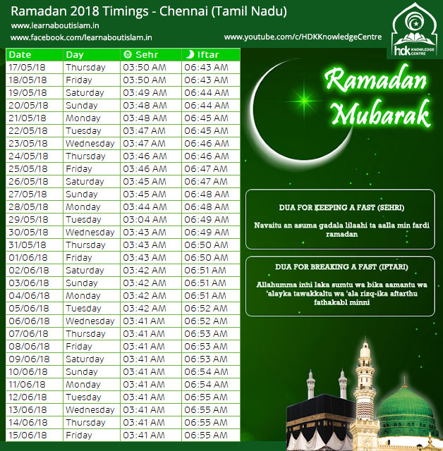 Sehr o Iftar Timings Chennai - Tamil Nadu Ramadan Timetable 2018
