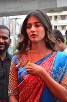 Puja Hegde looks stunning in Red saree at launch of Anutex shopping mall ~ Celebrities Galleries 113.JPG