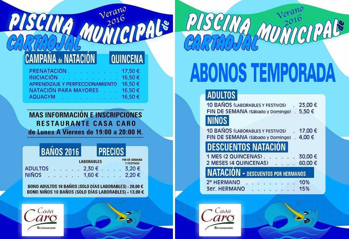 Noticias de cartaojal y antequera for Precio piscina municipal