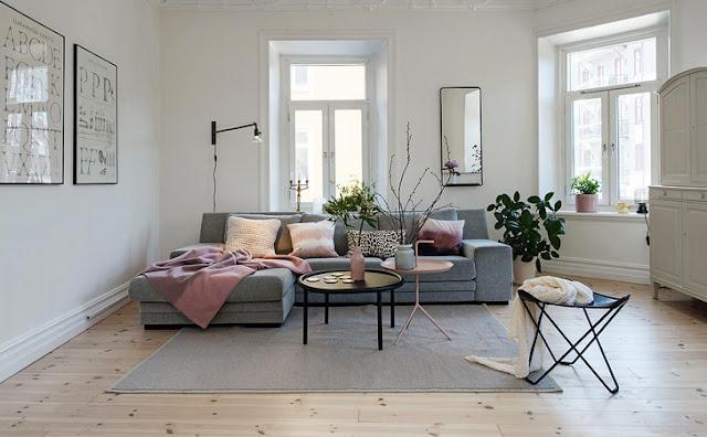 20 fotos lindas de salas decoradas em cinza decora o e ideias - Salon rose poudre ...