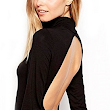 Shein Women's Black Round Neck Long Sleeve Backless Bodysuit