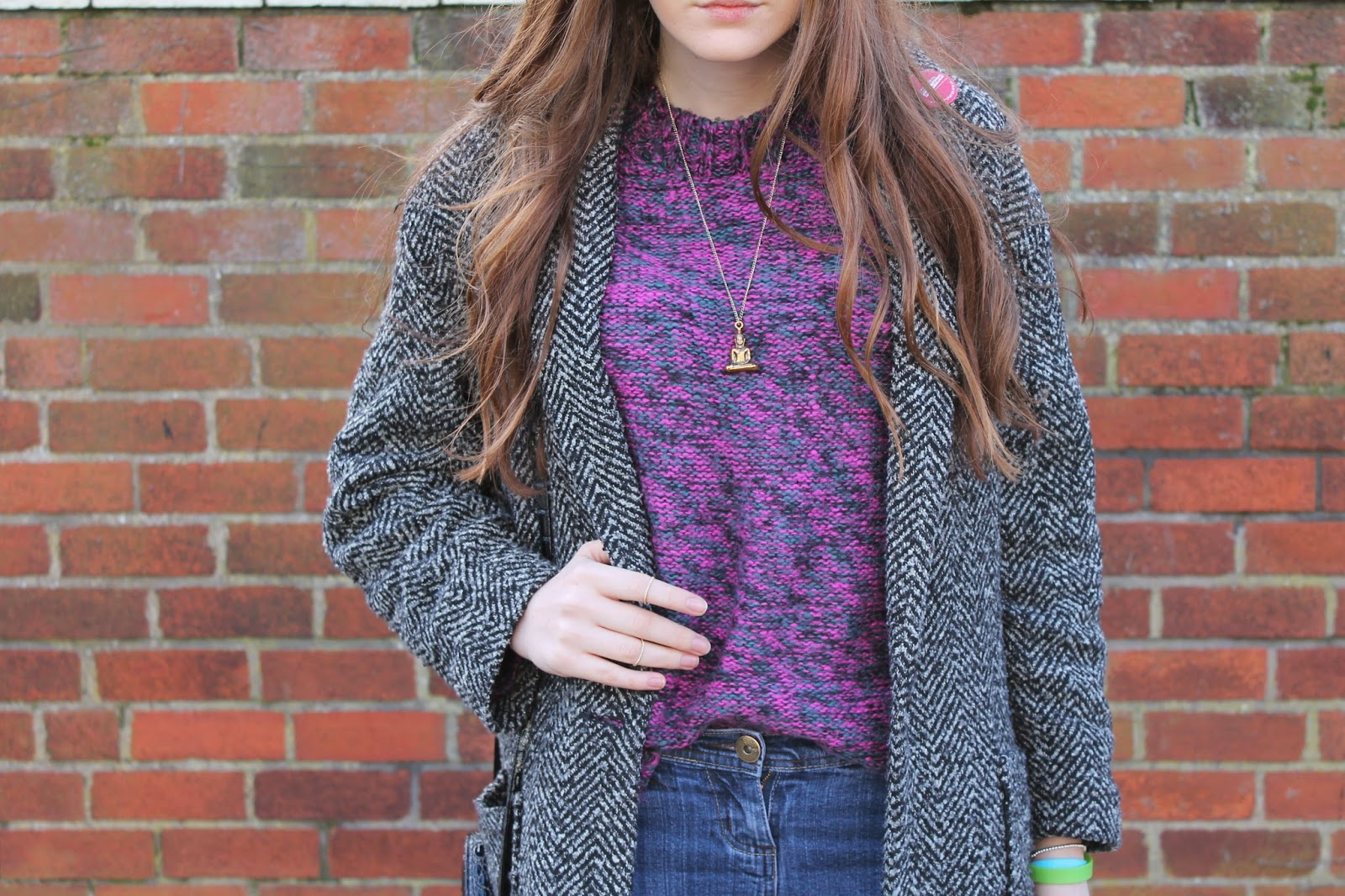 space dye jumper, henry holland jumper, tweed coat primark, buddha gold necklace
