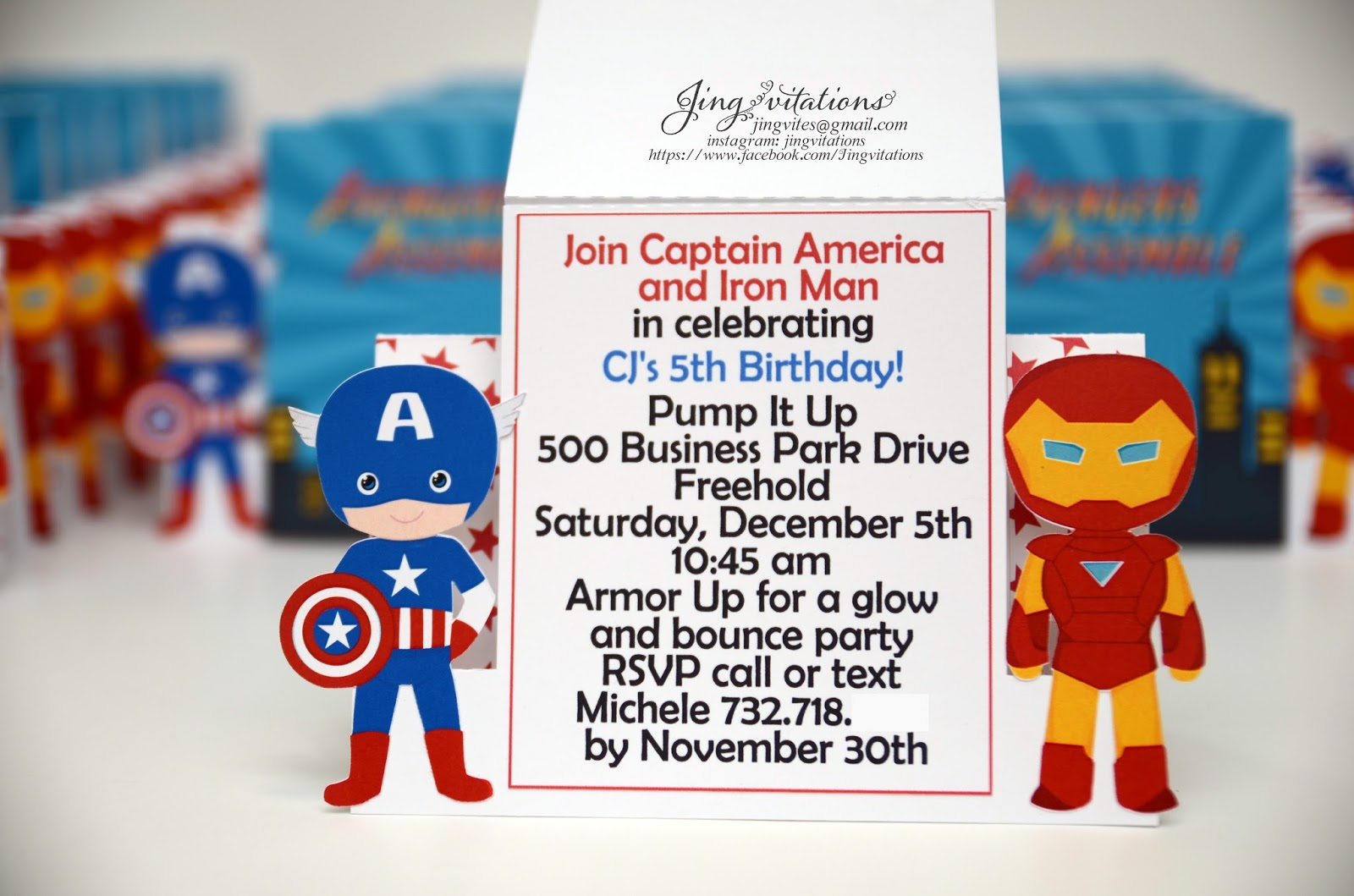 Jingvitations Capt America and IronMan Invitations