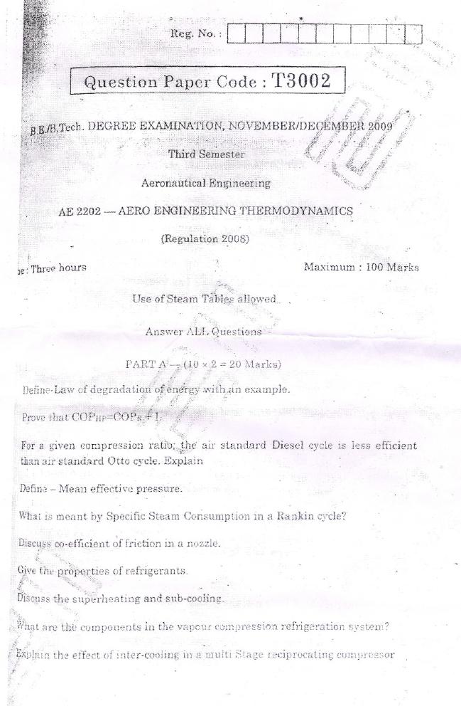 AE6301, AE2202 Aero Engineering Thermodynamics 2009 B E