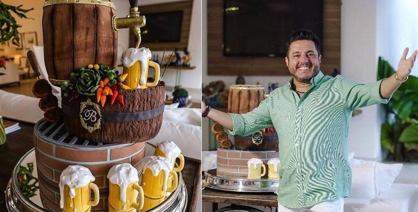 Aniversário Bruno com bolo de cerveja aniversario