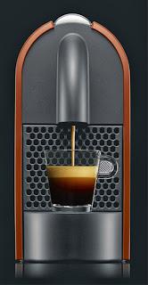 Cafetera Nespresso U naranja, vista de frente