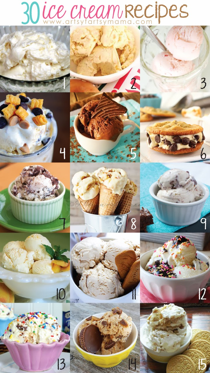 30 Ice Cream Recipes at artsyfartsymama.com