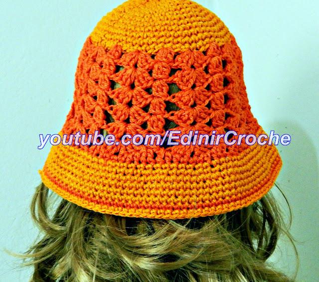 chapéu em croche moda crochet praia verão curso de croche EdinirCroche