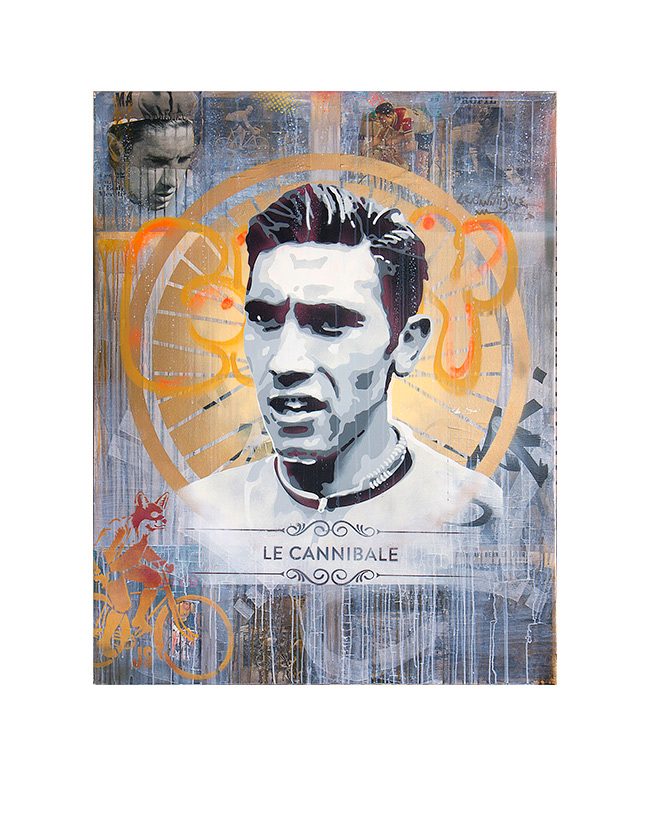 Eddy Merckx - James Straffon cycling art When the Fox met The Rooster, Luxembourg