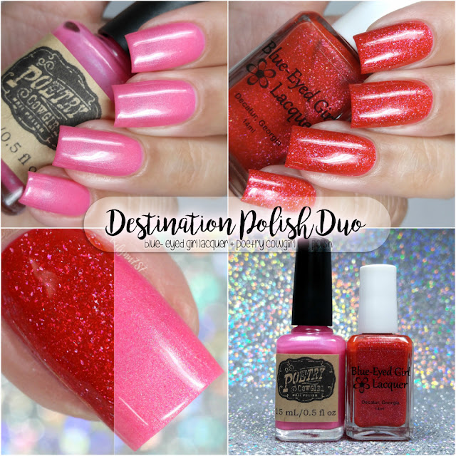Destination Duo June 2017 - Blue Eyed Girl Lacquer ft. Poetry Cowgirl Nail Polish