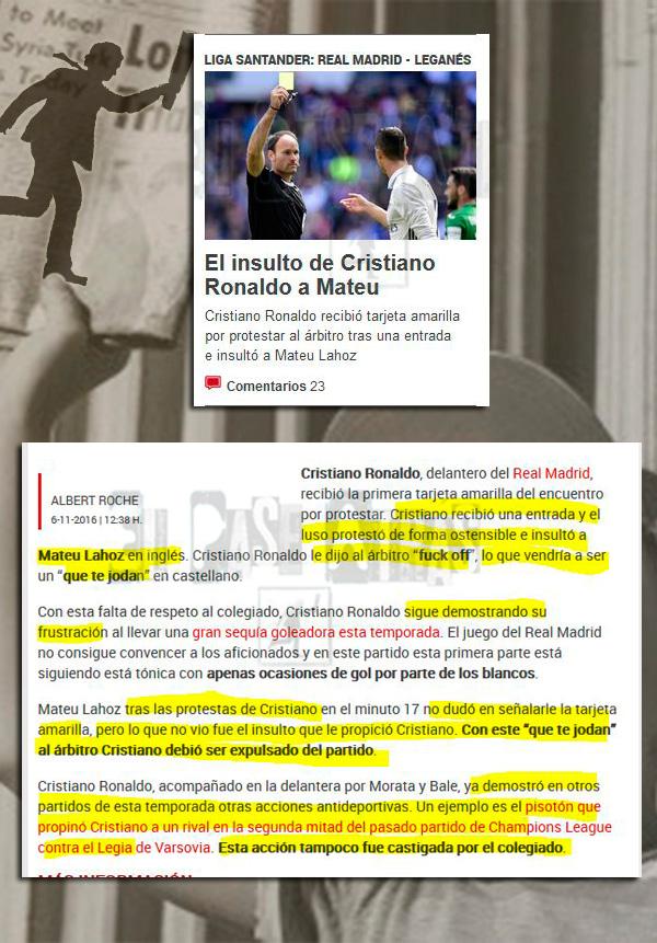Insulto Messi Cristiano árbitro