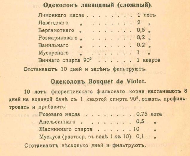 Старинный рецепт одеколона