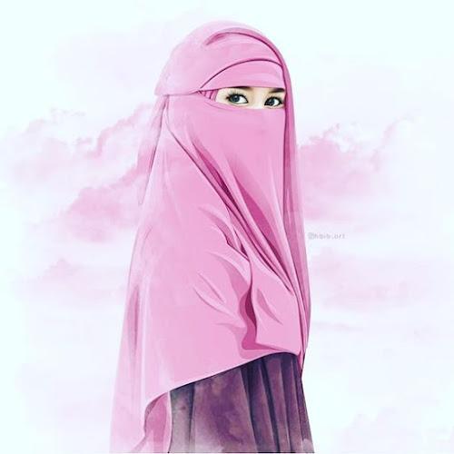 Gambar kartun muslimah berhijab dan bercadar