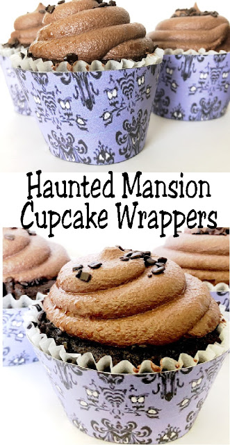 Print out these Haunted Mansion wallpaper cupcake wrappers for your Halloween party and turn store bought cupcakes into a hauntingly awesome party treat. Such a simple way to add some fun to your dessert table tonight!  #printablecupcakewrapper #hauntedmansion #disneyparty #halloweencupcake #dessert #diypartymomblog