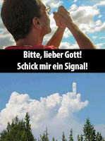 Glauben lustig - Mann betet zu Gott und bekommt Antwort - Spaßbilder mit Text