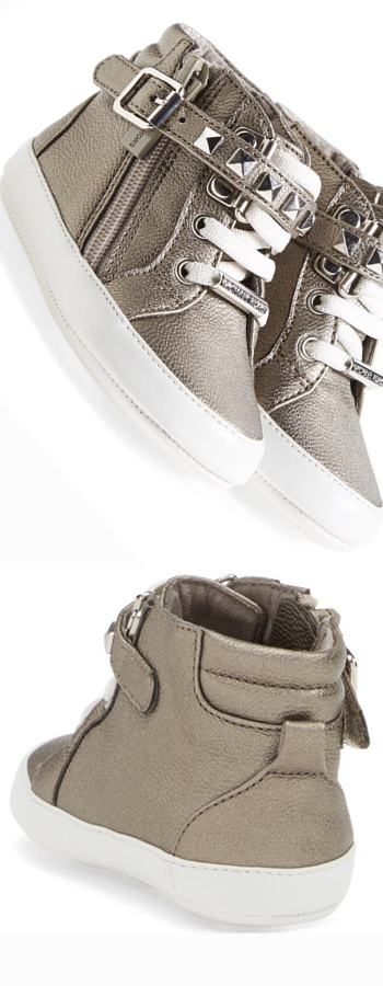 MICHAEL Michael Kors 'Ivy Rory' High Top Crib Shoe (Baby) Pewter