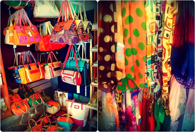 bags and scarves shop decoration and organizing