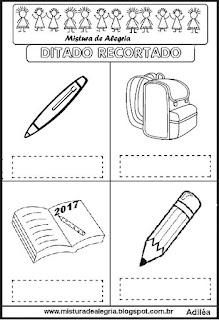 Ditado recortado objetos escolares
