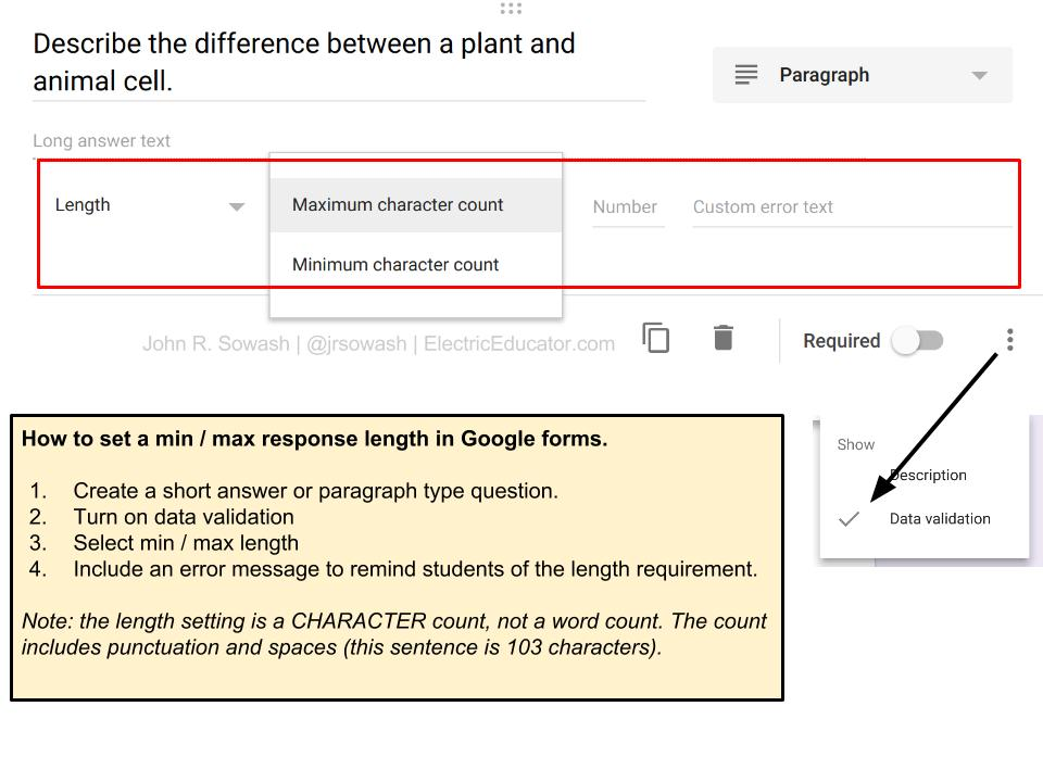 the electric educator restrict answer length in google forms