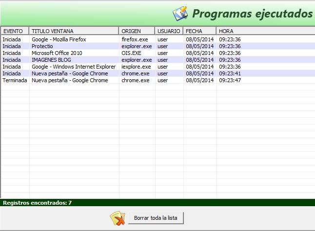 Registro de programas ejecutados