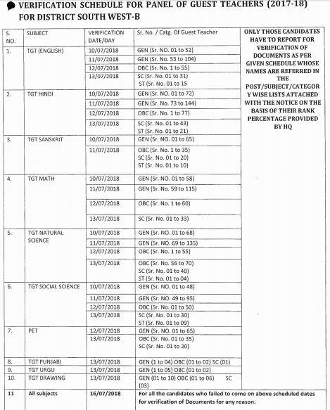 image : Delhi Guest Teacher Document Verification Schedule 2018 @ TeachMatters