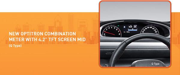 Toyota All New Sienta mempunyai mater kombinasi yang lebih canggih dibandingkan dengan kompetitor yang lain dengan Optiran Display Welcoming Animations, Birthday Reminder dan Ranking efisiensi BBM