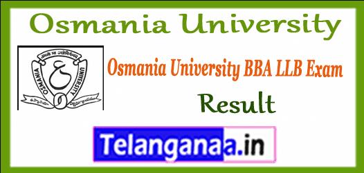 Osmania University BBA LLB Exam  Results