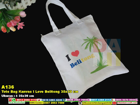 Tote Bag Kanvas I Love Belitong 35x30 Cm