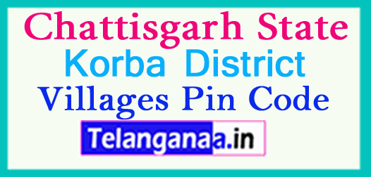 Korba District Pin Codes in Chattisgarh State