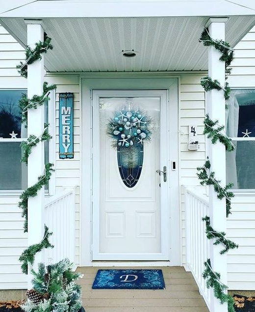 Coastal Blue Christmas Front Door Decor Wreath