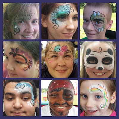 swirls, mermaid, monster eye, palm tree, lovebirds, panda, peace signs, pirate, and rainbow swirls face paint